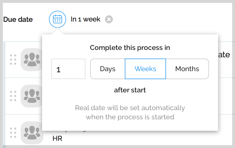 Due date edit option on template editing screen