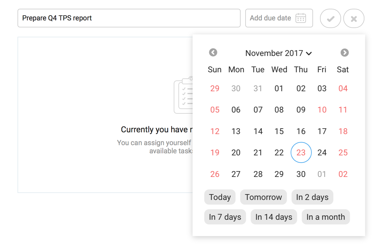 Date picker with holidays marked in red